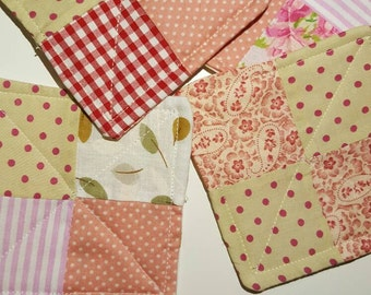 Set of 4 handmade cotton patchwork coasters flowers shabby chic cute cream and pinn
