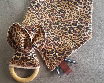 Bandana bib and teether set, leopard print for girls