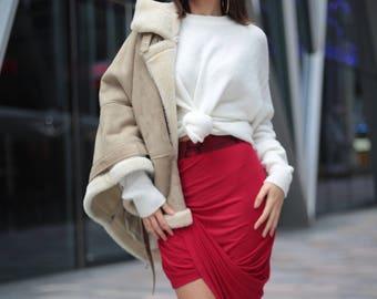 Ankara red african print drape skirt