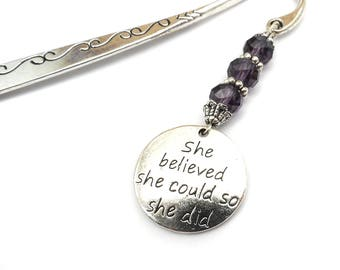 She Believed She Could So She Did Bookmark, Inspirational Gift, Graduation Gift, Sobriety Gift Bookmark, Awareness Bookmark