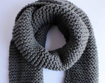Chunky Knit Scarf - Gray