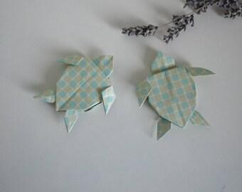 2 handmade origami sea turtles