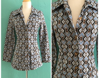 60's blue diamond knit shirt