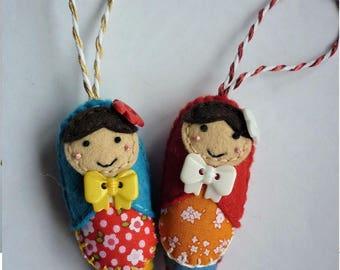Handmade Felt Hanging Christmas Tree Ornament Babushka