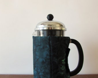 French Press Cozy - Dark Blue Batik, Bodum French Press Cover, Handmade Gift, Coffee Lover Gift, Insulated Cozy,