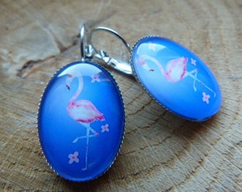"Silver Oval Stud Earrings ""Spring pink Flamingo"""