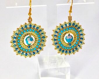 Creole earrings gold turquoise earrings pearl beads beadwork emboridery handmade