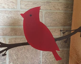 Metal Cardinal post/tree decoration - garden art