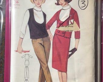 Butterick 60s dress pattern bust 36 un-used jacket trousers skirt vintage suit