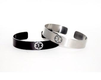 Medical ID Bracelet / Medical Alert Bracelet / Type 1 Diabetic / Allergy Alert Bracelet / Medical Jewelry / Cuff Bracelet