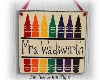 Custom Teacher Pencil Name Wood Sign
