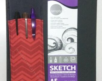 Red orange chevron pen holder bandolier for journal notebook sketchbook filofax alt pencil case, id160306 artist writer tools gift ideas