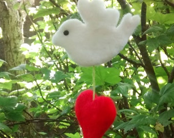 Dove and Heart Hanger