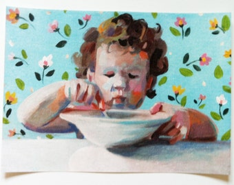Porridge is great / Folk art/  Big paper print -size A3 - Digital Prints & Reproductions