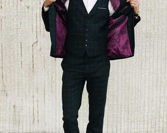 Mens 3 piece suit wool tartan checkered