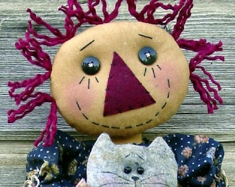 CF175 Kitty Hugs - PDF ePattern Cloth Doll Pattern Raggedy Kitty Cat