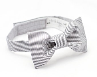 Grey Bow Tie - Grey White Stripe Bow Tie - Grey Baby Boy Bow Tie, Infant Bow Tie, Grey Boy Bow Tie, Grey Bowtie, Baby Bowties, Gray Bow Tie