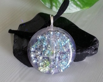 Blue & Green Iridescent Daydream Orgone Energy Pendant -Quartz Crystal, Pyrite, Blue Kyanite