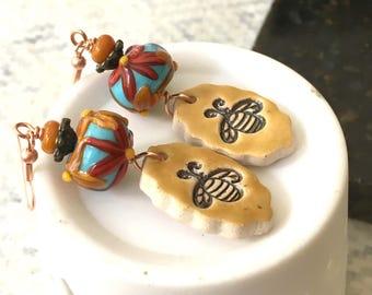 Golden Honey Bee Earrings, Bee Earrings, Colorful Flower Earrings, Yellow Ceramic Earrings, Lampwork Glass Bead Earrings, Unique Artisan,