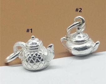 5 Sterling Silver Teapot Charm, 3D Tiny Teapot Charm for Necklace Bracelet Earring, 925 Silver Teapot Charm, Tea Pot Charm - JH86