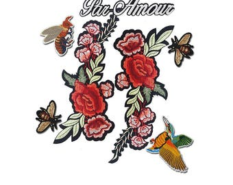 Iron on Embroidered Flowers Patches, Bee Patch, Hummingbird Patch, Par Amour Patch 7 pcs