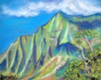 Kauai Kalalau 5x7 Art Print from Kauai Hawaii na pali valley green blue