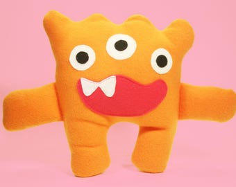 Benny the Three Eyed Friendly Orange Hug Monster Stuffed Animal
