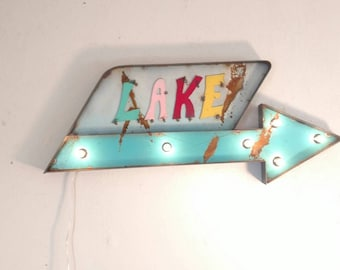 Lake sign - lake house decor - light up sign - vintage style marquee sign