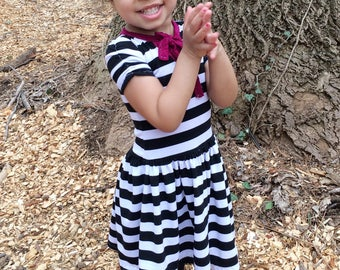 Black and white stripe dress for babies & toddlers / baby girl dress • Made to order