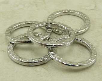 5 TierraCast Large Hammertone Ring Links -  Rhodium Plated Lead Free Pewter - I ship Internationally 3087
