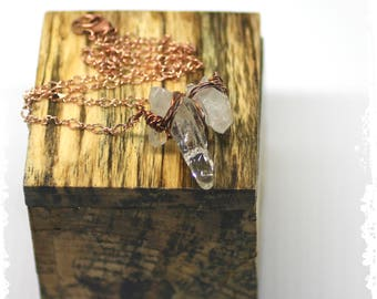 Quartz Crystal Point Bar Necklace Wire Wrapped Rustic Bohemian Wedding Jewelry Elegant Minimalist Gift for Her