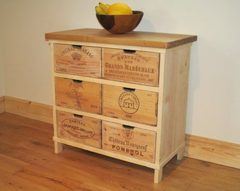 Oak storage chest of drawers / cabinet made with rustic wine boxes - Handmade