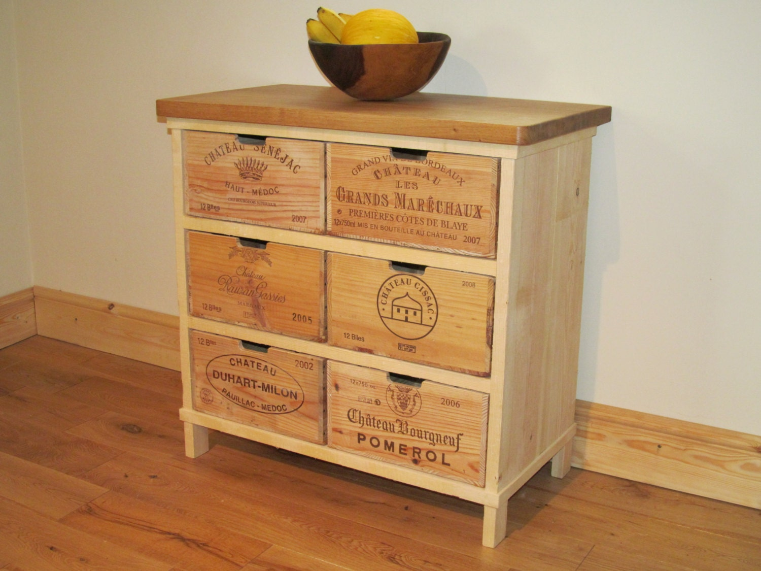 Oak storage chest of drawers cabinet made with rustic wine