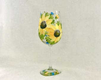 Sunflowers hand painted on a single wine glass free shipping