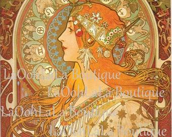 1896 La Plume Calendar Alphonse Mucha Art Nouveau Goddess Fantasy Princess Vintage Lithograph Mythology Astrology Horoscope Wheel Wall Decor