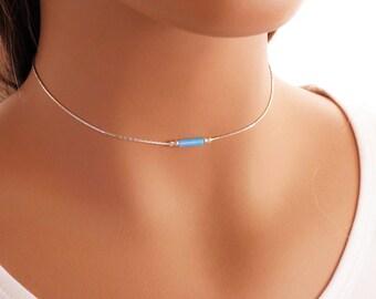 Dainty Choker Necklace - Opal bead on a silver chain, Layering Necklace, Opal Necklace, Gift For Daughter, Gemstone Choker, Dainty Necklace