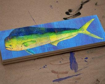 "Fisherman Gift for Husband Gift- Fish Gifts for Dad- Medium Saltwater Fish Art Block- Mahi Mahi Print- 9""x3"" Fish Wall Decor- Beach Decor"