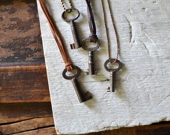 Authentic Skeleton Key Necklace - Antique Key Necklace - Key To My Heart - Mens Key Necklace - Vintage Skeleton Key Necklace