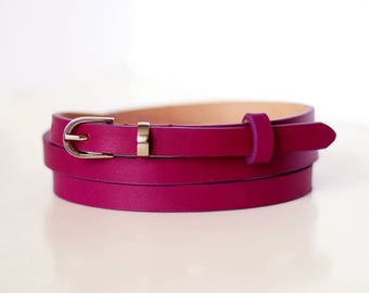 Free shipping! Сrimson belt, purple belt, narrow belt, skinny belt, thin belt, violet belt, dress belt, casual belt, leather belt, pink belt