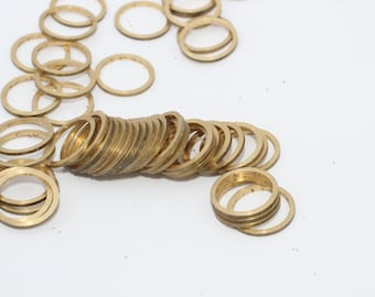 50 Pcs Raw Brass Connectors,Round Rings, Solid Brass Rings, Simple Circles, Raw Brass Hoops, Circle Connectors, Closed Ring Beads , HLS