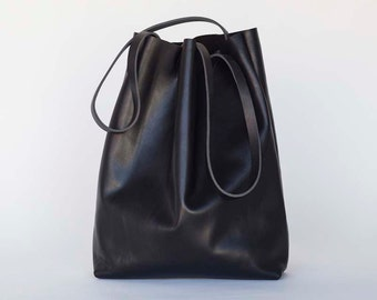 Large Black Leather Tote Bag , oversized black leather bag - large leather tote, shopper, handmade bag,  Sale