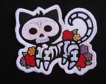 Large Embroidered Cat Skeleton Iron On Patch, Cat Patch, Cat Skeleton Patch, Cat Applique, Iron On Cat Patch