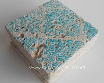 Teal Blue damask print stone tile coaster set of 4