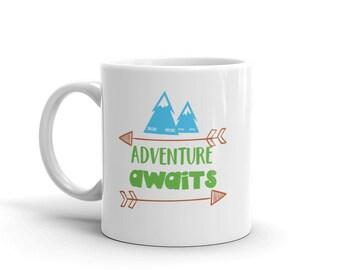 Adventure Awaits Namaste Mountains Camping Hiking Outdoors Mug