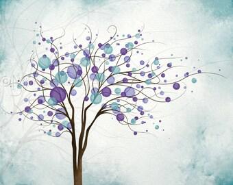 Wind Blowing Tree Art Print 8 x 10 Nature Wall Art, Flowing Tree Wall Decor, Purple Blue Aqua Home Decor, Living Room Wall Art  (277)