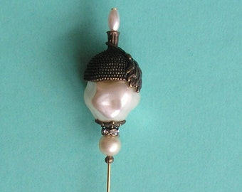 Pretty Faux Pearl and Bronze Acorn Bead 6 inch Handmade Hatpin / Hat Pin