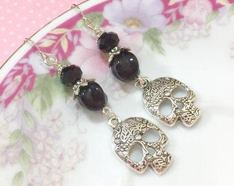Skull Earrngs, Fancy Tibetan Silver Sugar Skull Earrings, Long Gothic Earrings, Day of Dead Earring, Halloween Jewelry, KreatedByKelly (DE2)