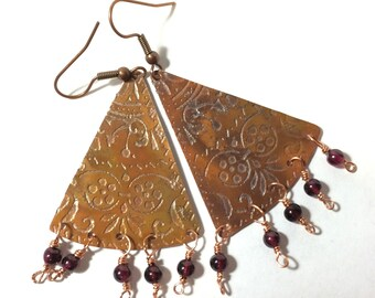 Etched Copper Fan Earrings with Dangles - Free Domestic Shipping