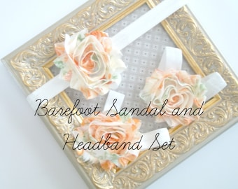 Baby Barefoot Sandals and Headband Set