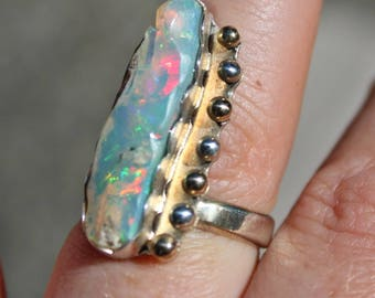 Opal and Gold Ring, Opal Ring, Rough Opal, Sterling Silver, Adjustable Ring, Welo opal, Gemstone